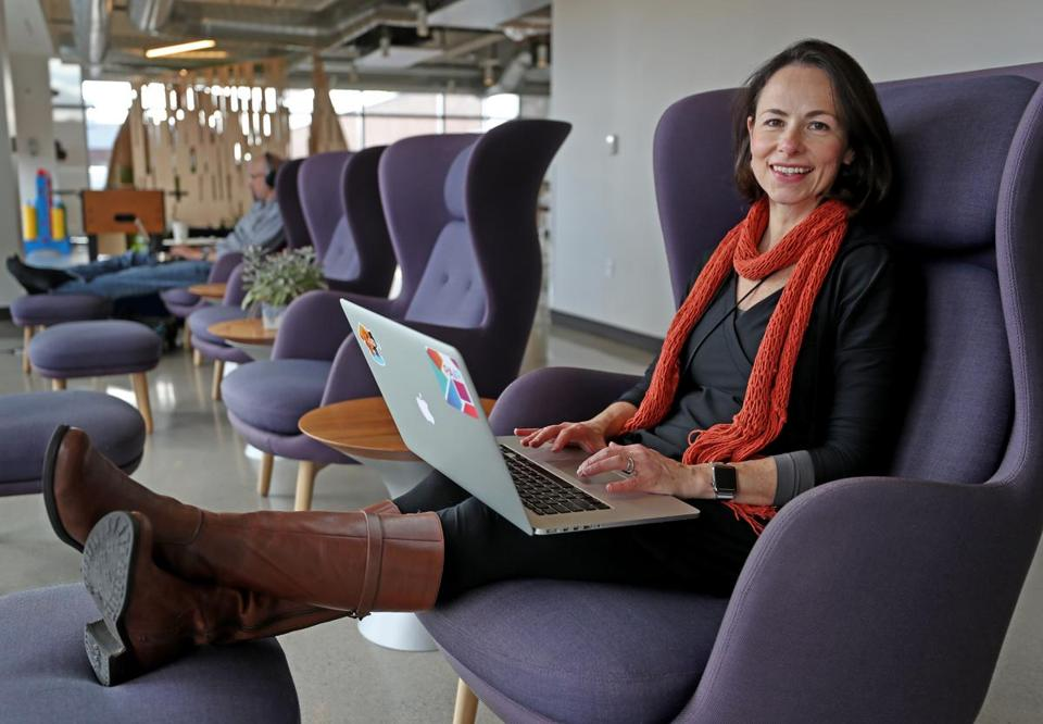 CAMBRIDGE, MA - 11/15/2017: Fernanda Viegas (cq) senior staff research scientist, leads the PAIR (People + AI Research) initiative, which is primarily located in Cambridge. She also co-leads the Big Picture research team, which is part of Google Brain, which is designed to bring data visualization and complex information to lay users (David L Ryan/Globe Staff ) SECTION: BUSINESS TOPIC 03onthejob