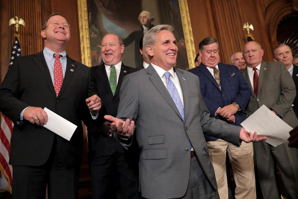 House Majority Leader Kevin McCarthy celebrated with fellow House Republicans following the passage of the Tax Cuts and Jobs Act on Thursday.