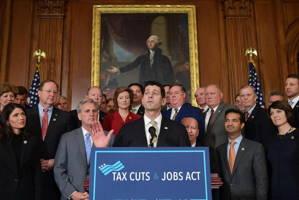 House Speaker Paul Ryan spoke after the House passed its version of the tax overhall.