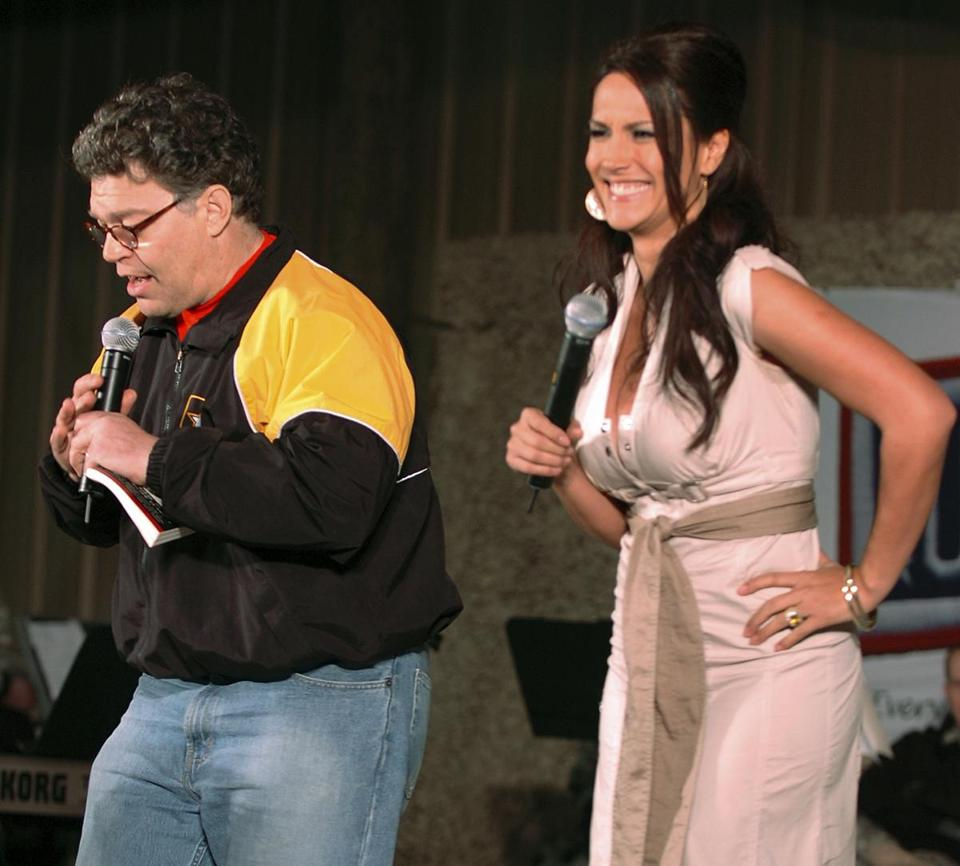 Then-comedian Al Franken and sports commentator Leeann Tweeden performed a comic skit for service members during the USO Sergeant Major of the Army's 2006 Hope and Freedom Tour in Camp Arifjan, Kuwait, on Dec. 15, 2006.
