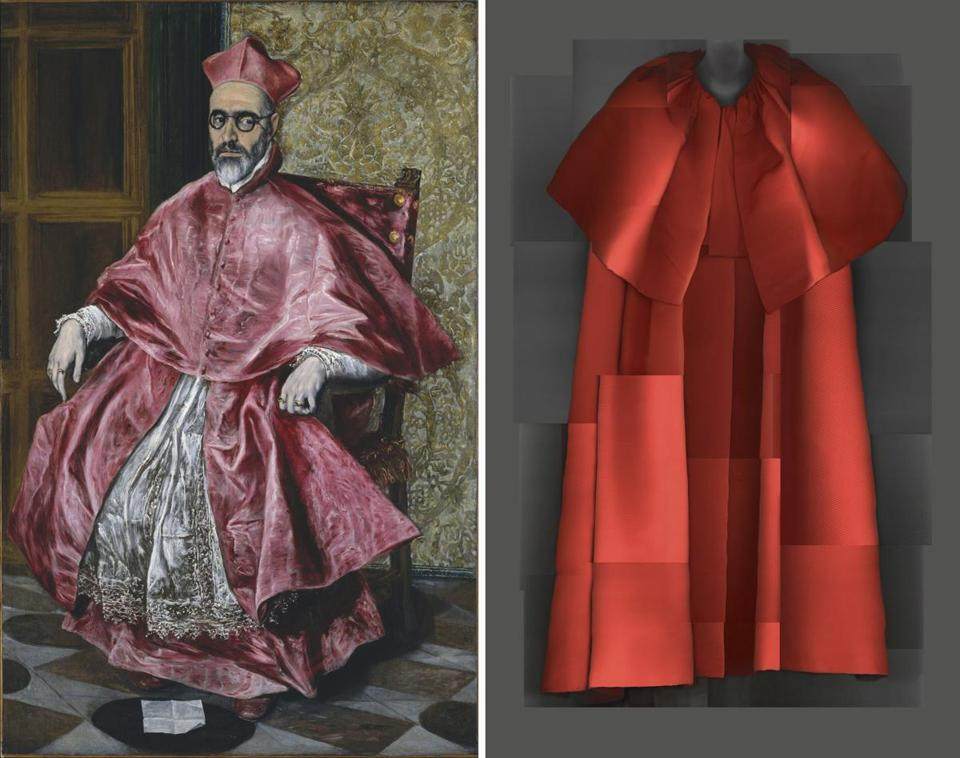 Designer Cristobal Balenciaga's evening coat from his fall 1954-'55 collection and a painting of Cardinal Fernando Nino de Guevara.
