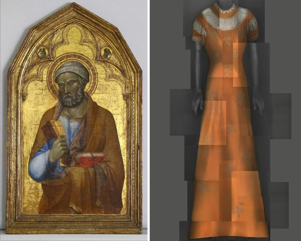 Left: Follower of Lippo Memmi, Saint Peter, mid–14th-century. Right: Elsa Schiaparelli evening dress, summer 1939.