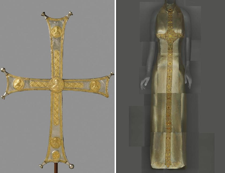 Left: Byzantine processional cross, ca. 1000-1050. Right: Gianni Versace evening dress, fall 1997–98.