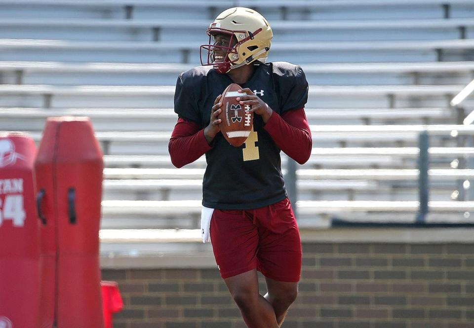 Chestnut Hill, MA - 8/03/2017 - Boston College Eagles quarterback Darius Wade (4). Boston College football practice. - (Barry Chin/Globe Staff), Section: Sports, Reporter: Julian Benbow, Topic: BC football, LOID: 8.3.3295347988.