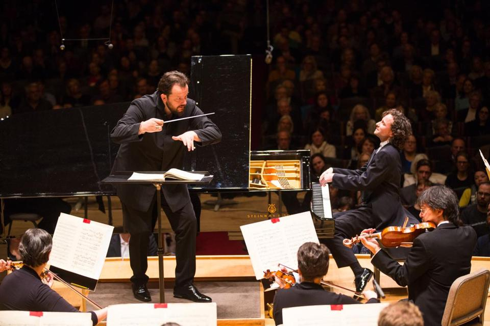 Andris Nelsons leading pianist Martin Helmchen and the BSO last week.