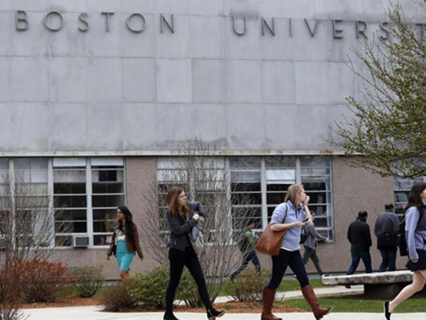 Students walked across the campus of Boston University.