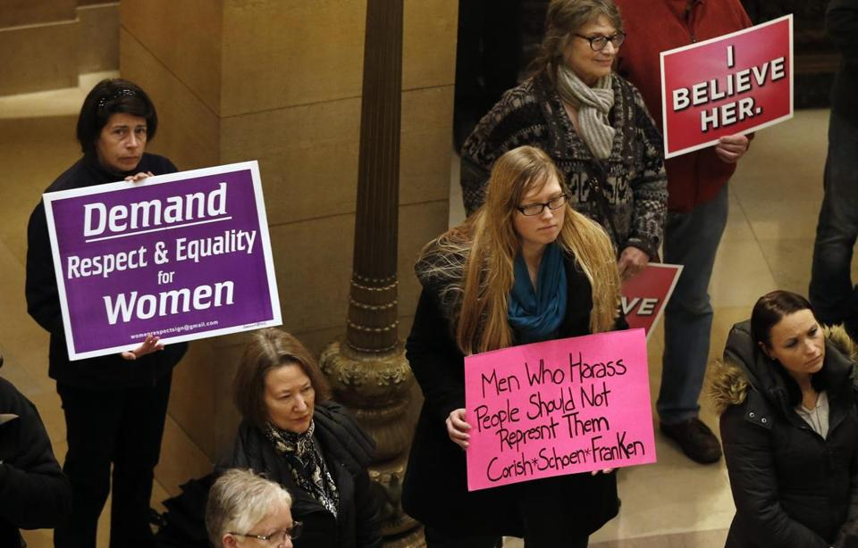 Women rallied Friday at the State Capitol in St. Paul, Minn., in response to a tide of sexual harassment allegations.
