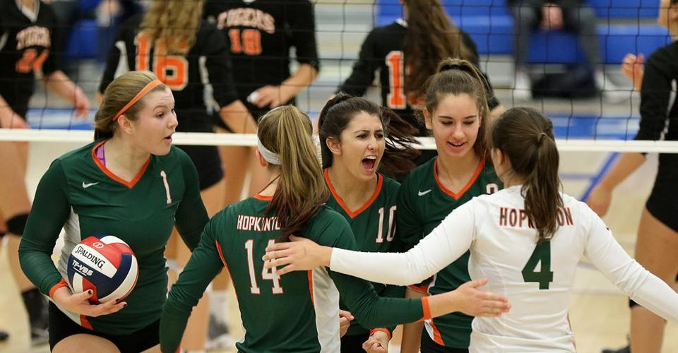 Hopkinton celebrated after scoring against Newton North.