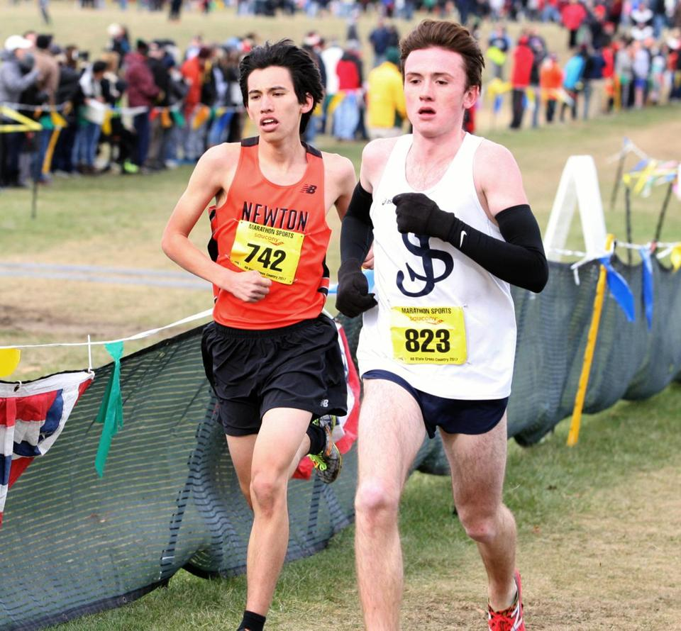 Wrentham, MA 11/18/17 D1 and D2 All-State cross country for SPORTS ( George Rizer for the Globe) D-1 boys leaders here....Newton North ANDREW MAH, LEFT,,,,and eventual winner ST JOHNS PREP TRISTAN SHELGREN , RIGHT.....
