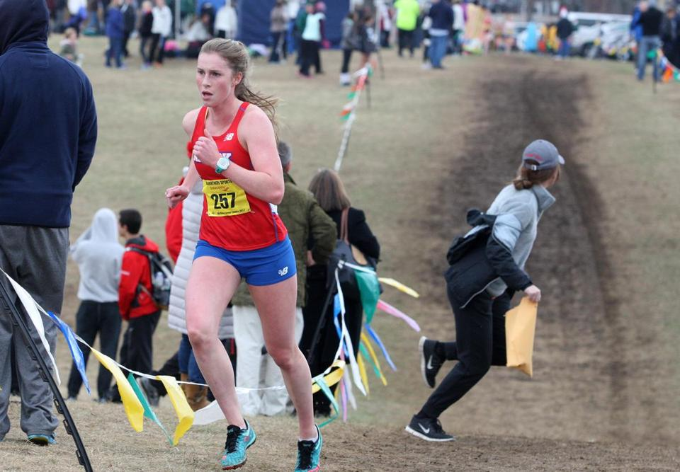 Wrentham, MA 11/18/17 D1 and D2 All-State cross country for SPORTS ( George Rizer for the Globe)D-2 Girls race.......early on, eventual winner Natick HS Grace Connolly had no competition.....