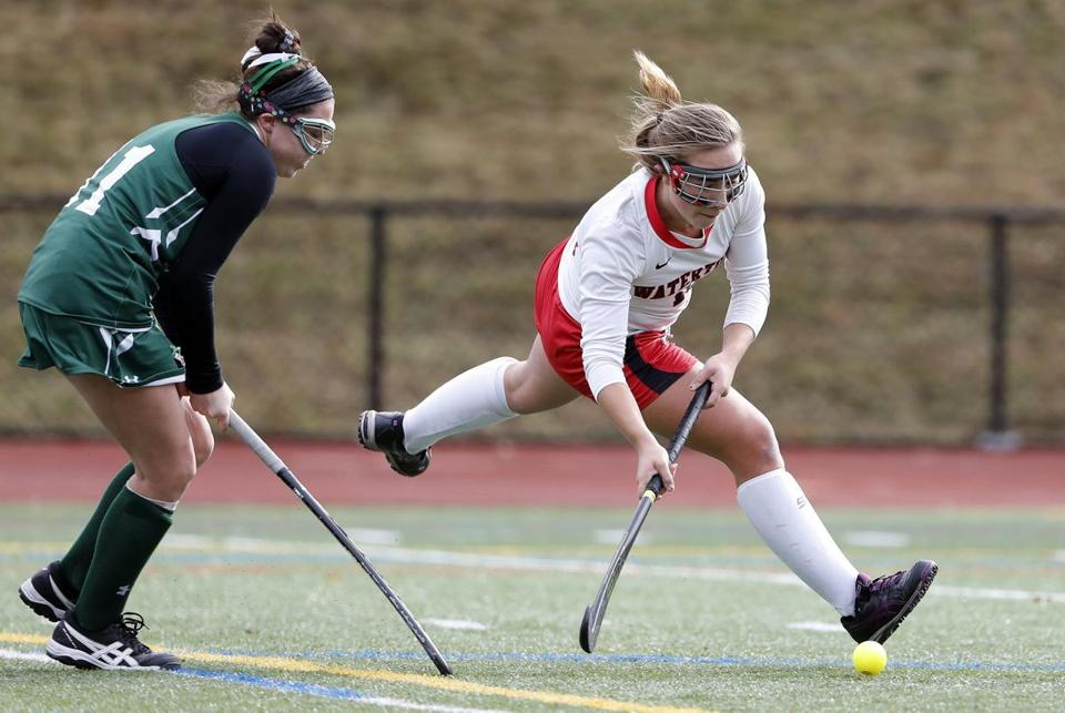 Watertown's Sydney Poulin scored with Oakmont's Rachael Lemay on her heels.