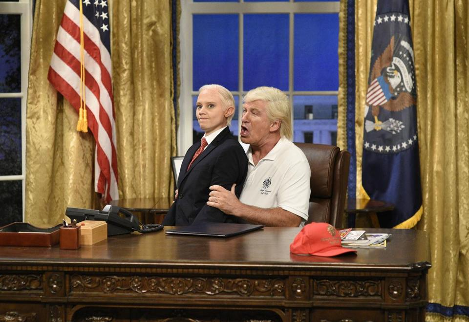 "Kate McKinnon (left) portrayed Attorney General Jeff Sessions during a Sept. 30 episode of ""Saturday Night Live."""