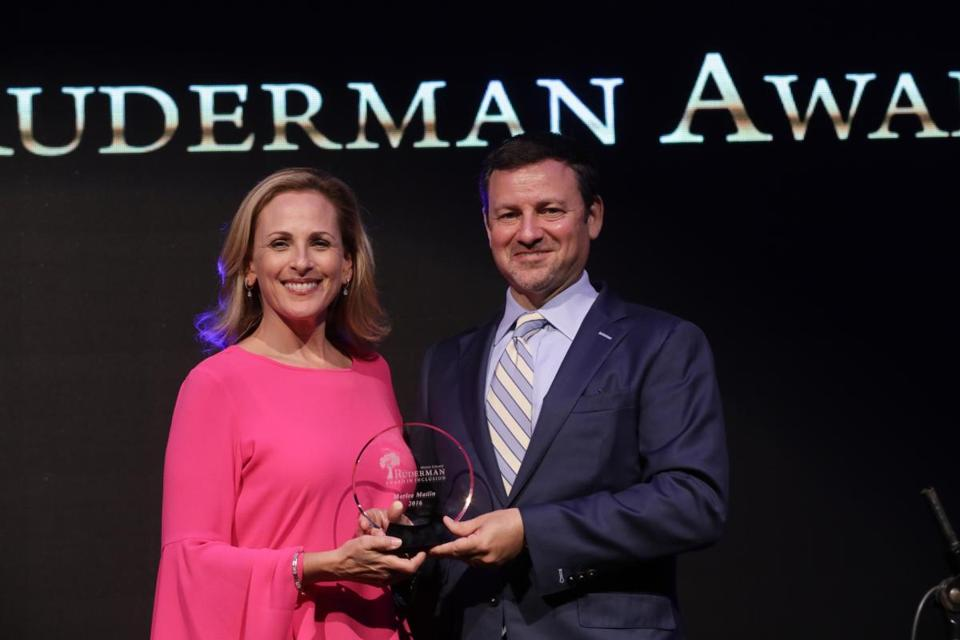 Foundation president Jay Ruderman presented actress Marlee Matlin with the Morton E. Ruderman Award earlier this year for her activism on behalf of the disabled.