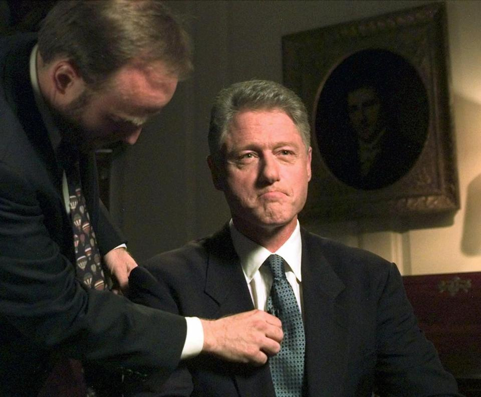 RETRANSMISSION FOR IMPROVED QUALITY--President Clinton sits in the Map Room of the White House in Washington, Monday, August 17, 1998, before making a statement to the American people about his relationship with former intern Monica Lewinsky. Clinton acknowledged to a grand jury and the nation that his relationship with Lewinsky was 'not appropriate.' (AP Photo/Greg Gibson) CLINTON/LEWINSKY SEX SCANDAL Library Tag 12162002 Living Arts
