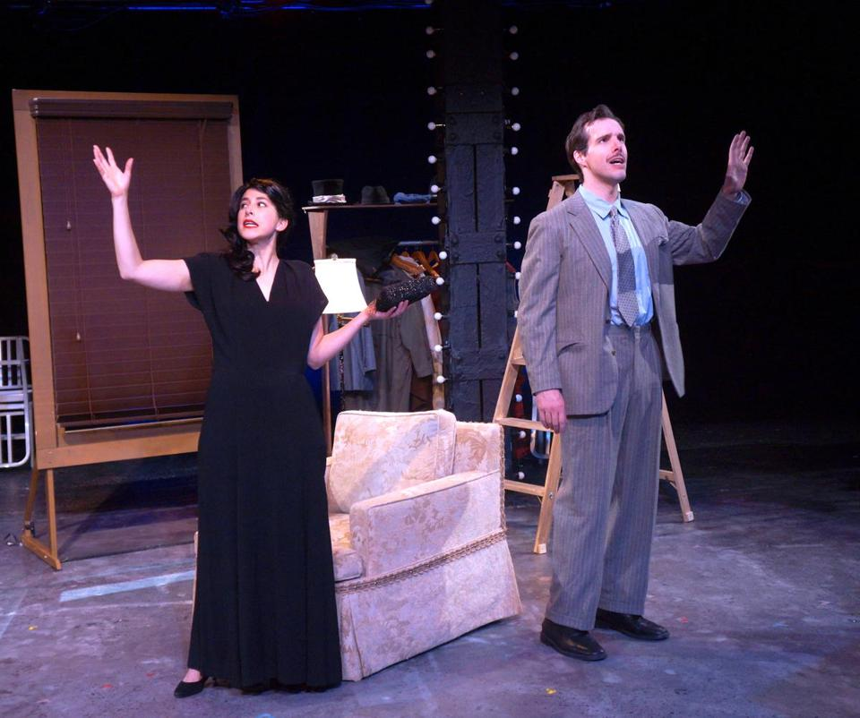 "Sarah Gazdowicz and Kevin Cirone in ""The 39 Steps."""