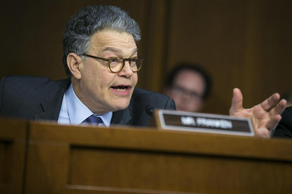 FILE — Sen. Al Franken (D-Minn.) on Capitol Hill in Washington, March 21, 2017. Franken shares little ideology in common with President Donald Trump, but as former NBC stars, both men are examples of how politics has been celebritized — and now, of how political scandal has. (Al Drago/The New York Times)