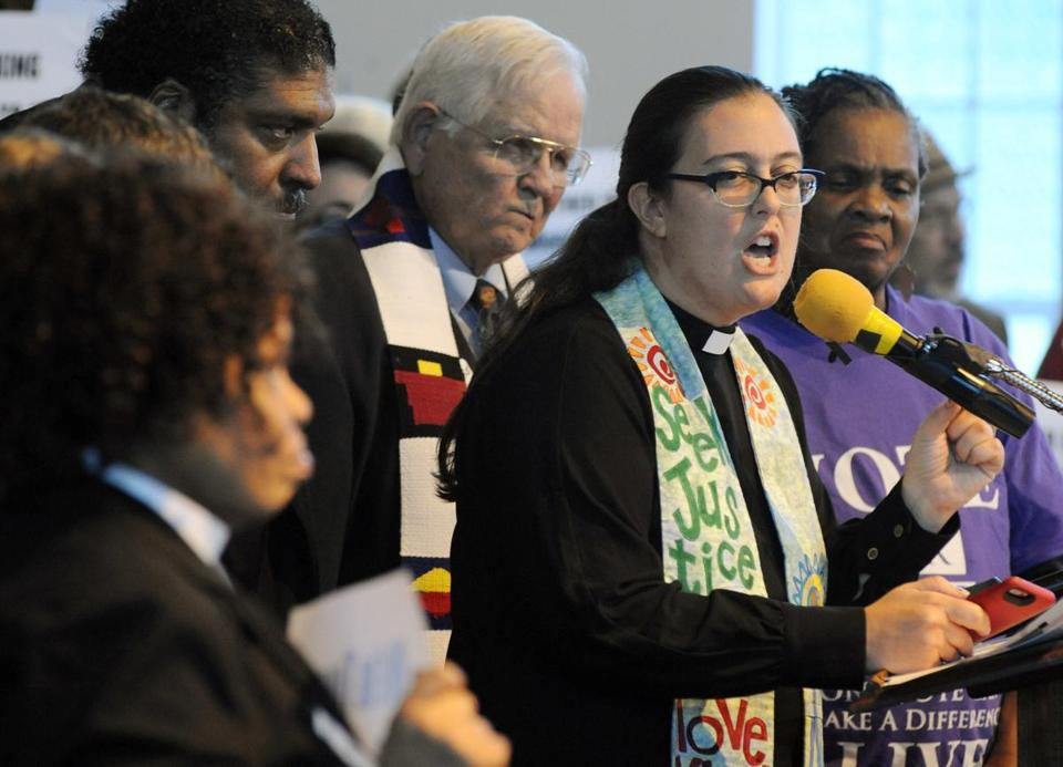 The Rev. Liz Theoharis, co-director of The Poor People's Campaign, spoke at a rally in opposition to Republican U. Senate candidate Roy Moore at a church in Birmingham, Ala.
