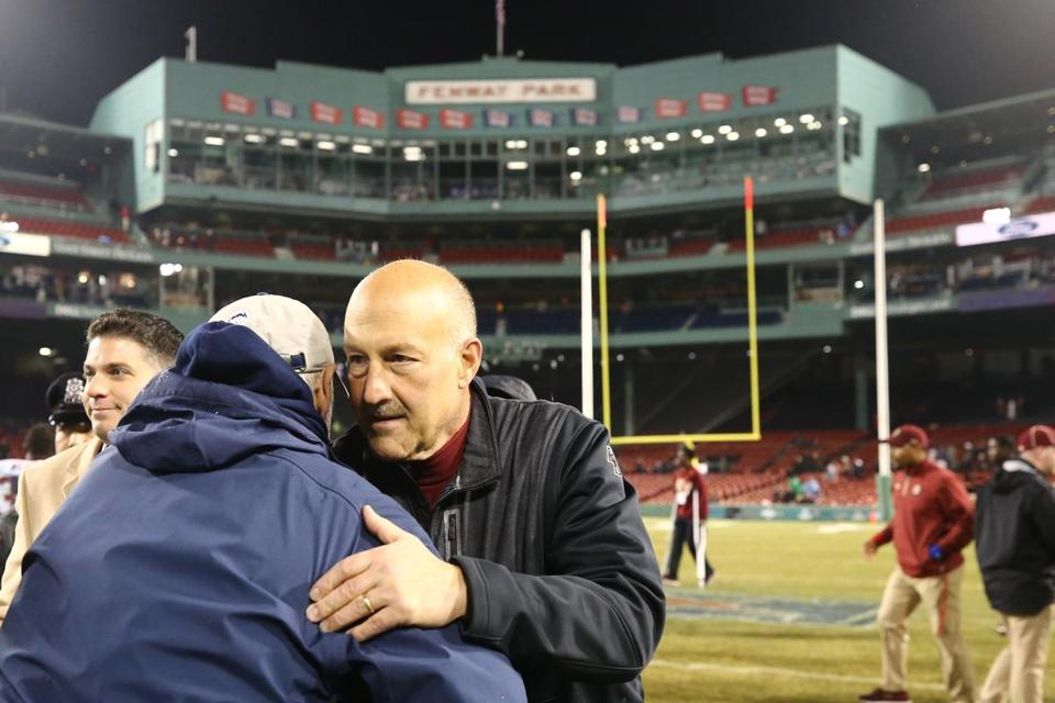 BOSTON, MA - NOVEMBER 18: Head coach Steve Addazio of the Boston College Eagles after the game against the Connecticut Huskies during the second half at Fenway Park on November 18, 2017 in Boston, Massachusetts. The Eagles defeat the Huskies 39-16. (Photo by Maddie Meyer/Getty Images)