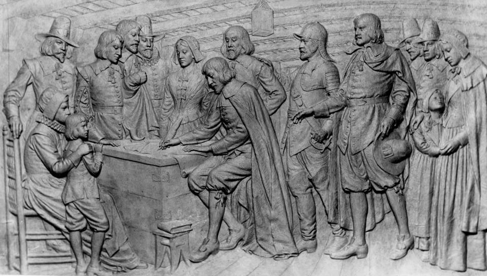Plymouth, MA - 5/3/1962: The signing of the Mayflower Compact on a bas relief panel on the base of the Pilgrim Monument in Plymouth, Mass., May 3, 1962. (/Boston Globe Archive) --- BGPA Reference: 170720_ON_028