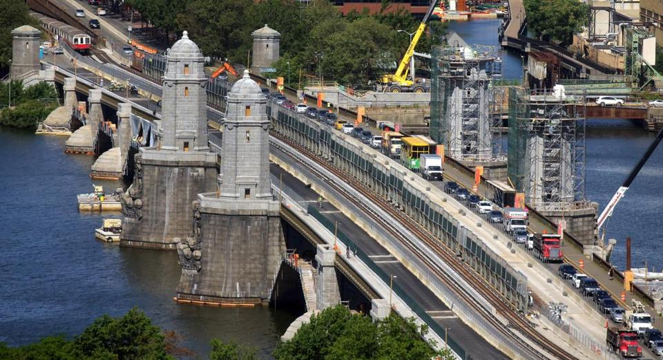 This is what the Longfellow Bridge project looked like in the summer of 2016. It's expected to reopen in May.