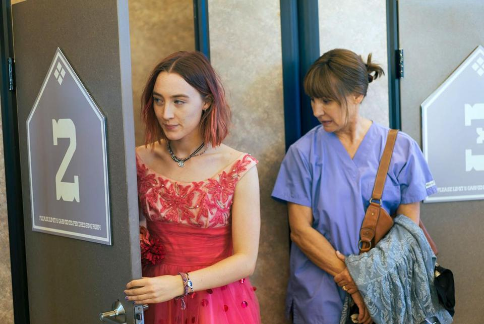 "Laurie Metcalf (right) and Saoirse Ronan play mother and daughter in ""Lady Bird."""