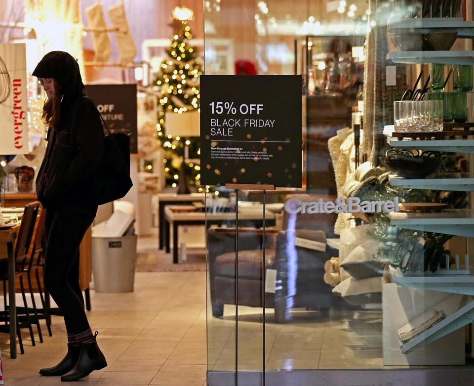 Crate & Barrel touted its Black Friday deals on Wednesday at its store in Chestnut Hill.