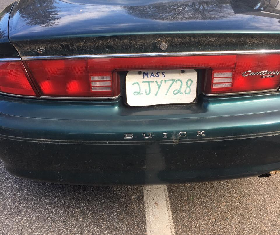 "03zoblotter - The Hopkinton police charged this driver with operating an uninsured and unregistered vehicle and attaching ""fake home made"" plates. (Hopkinton Police Department/Facebook)"
