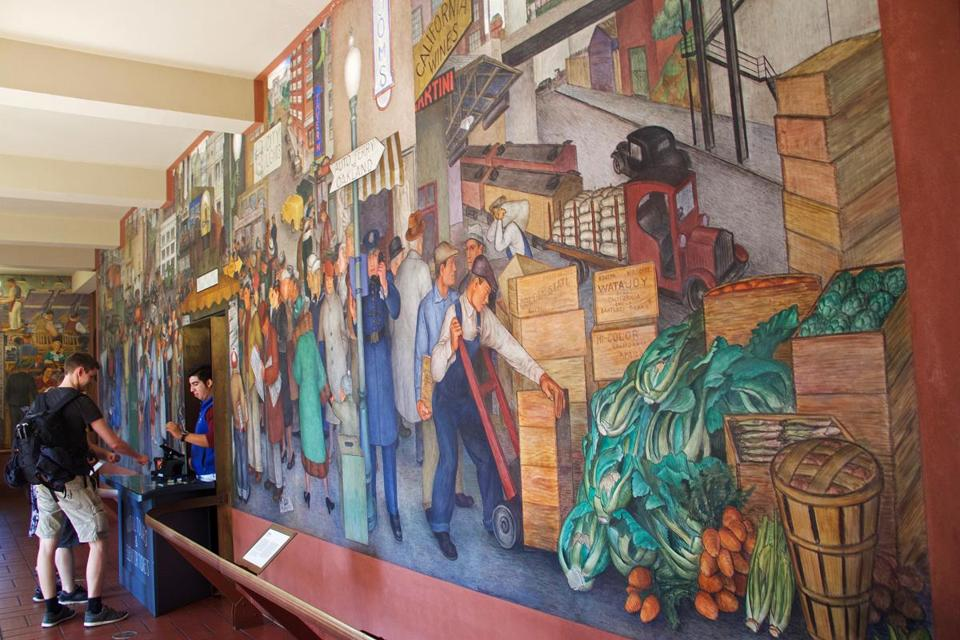 More than two dozen murals were created at Coit Tower in the depths of the Depression. Many of the artists were disciples of Diego Rivera and favored his social realism style.
