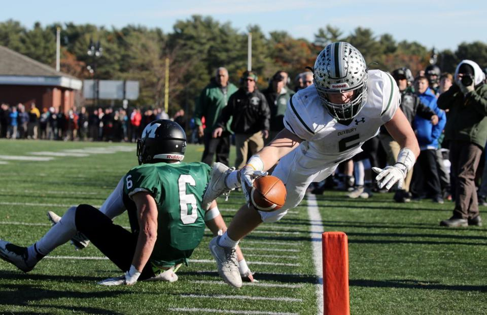 Duxbury's Joe Gooley's dive for the pylon came up short in the second half.