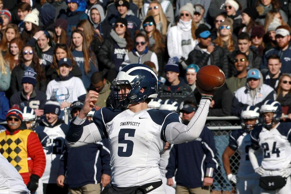 Swampscott quarterback Colin Frary fired downfield in the third quarter.