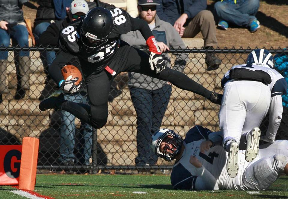 Marblehead's Derek Marino was just shy of leaping into the end zone in the fourth quarter.
