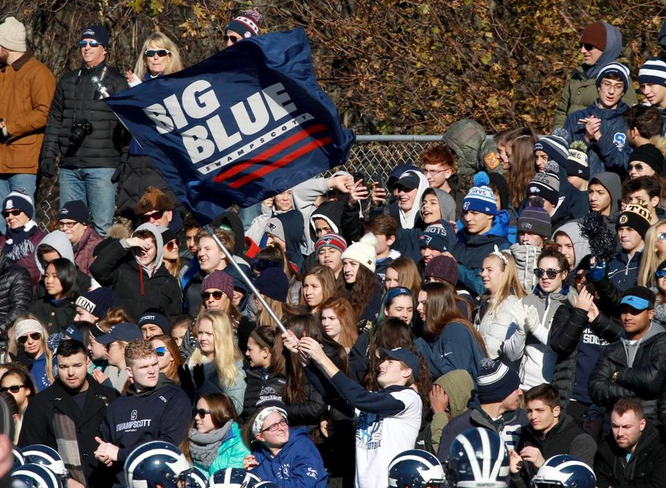 Swampscott fans cheered on the Big Blue in first quarter.