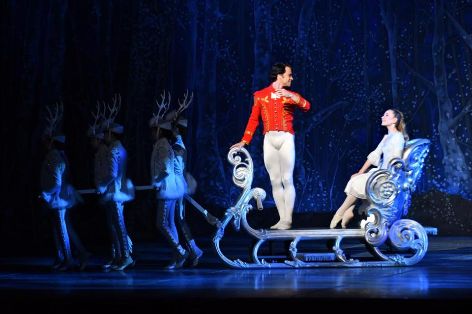 Paulo Arrais as the Nutcracker Prince and Elise Beauchemin as Clara at the Boston Opera House.