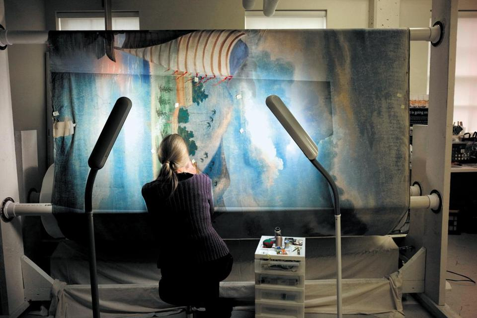 Textile conservator Kate Tarleton worked on the restoration of the panorama in New Bedford.