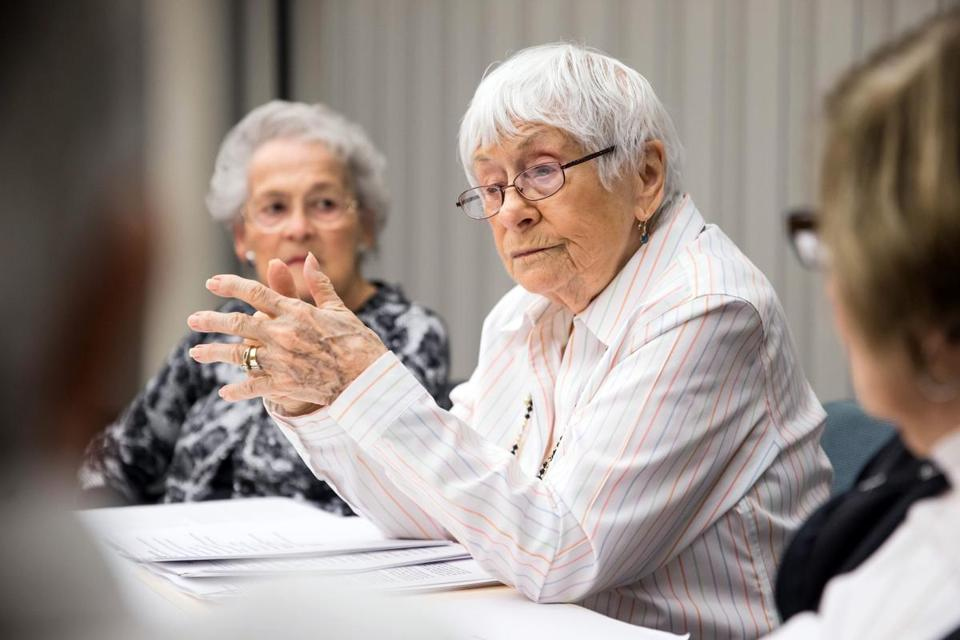 11/22/2017 CANTON, MA Resident Esther Adler (cq) 93, teaches a jewish culture class at Orchard Cove in Canton. (Aram Boghosian for The Boston Globe)