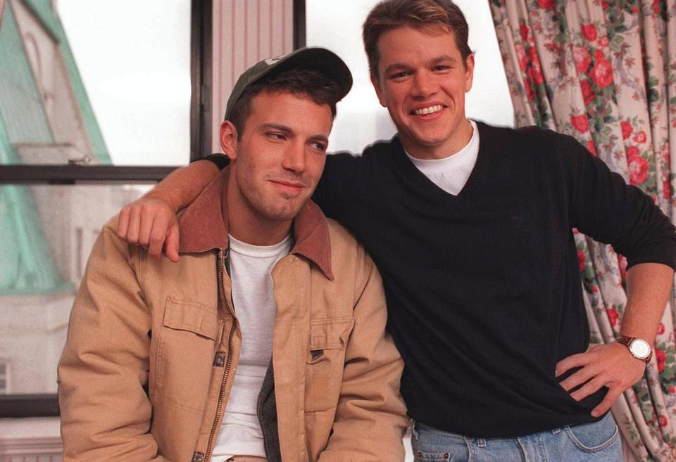 "Actors Ben Affleck, 25, left, and Matt Damon, 27, pose during an interview in New York Nov. 22, 1997. The two friends from high school days in Cambridge, Mass. wrote and star in the movie, ""Good Will Hunting."" (AP Photo/Yukio Gion)"