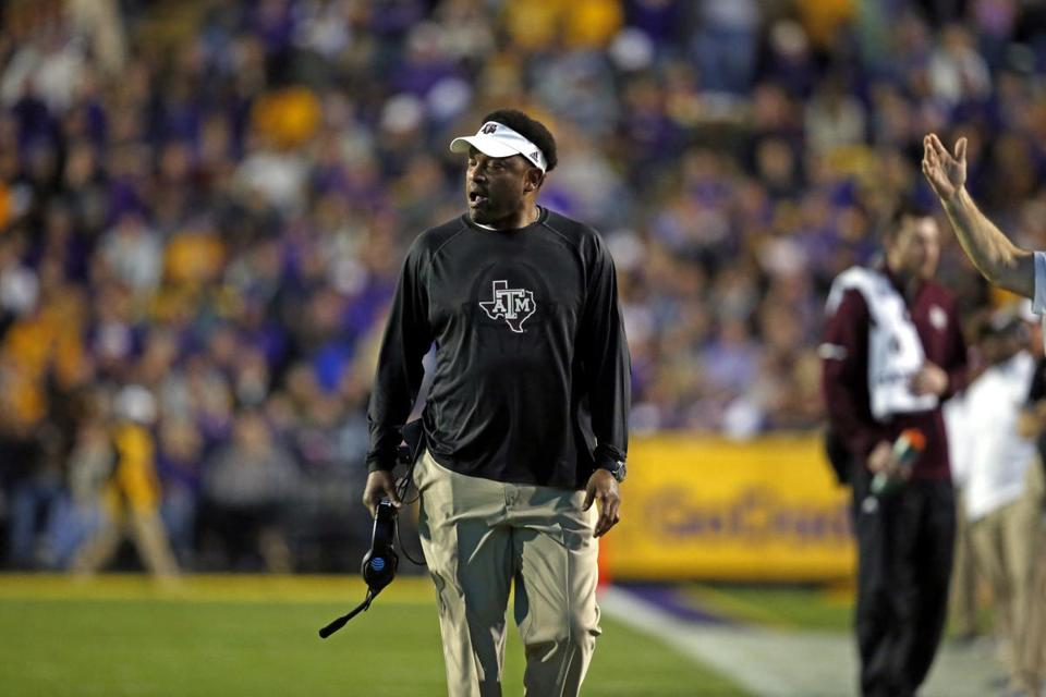 Kevin Sumlin was dismissed Sunday after six seasons as Texas A&M's head football coach. Above: Sumlin on the sidelines during Saturday's season finale against LSU.