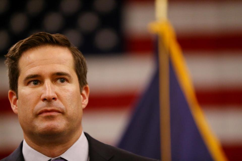 Representative Seth Moulton appeared last month at a press conference in Bedford.