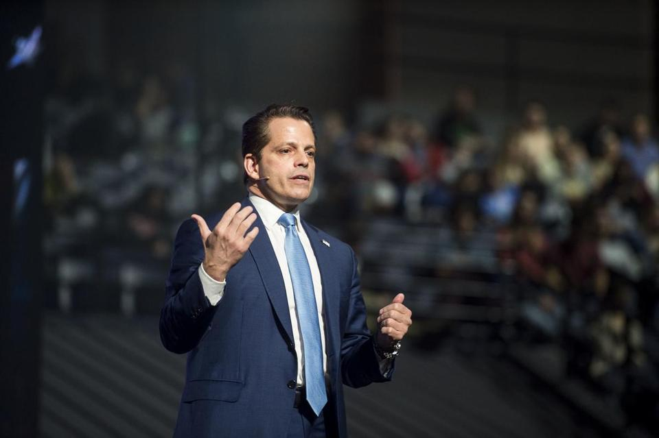 Former White House communications director Anthony Scaramucci speaks to attendees at Liberty University's convocation on Wednesday, Nov. 1, 2017 in Lynchburg, Va. (Jay Westcott/News & Daily Advance via AP)