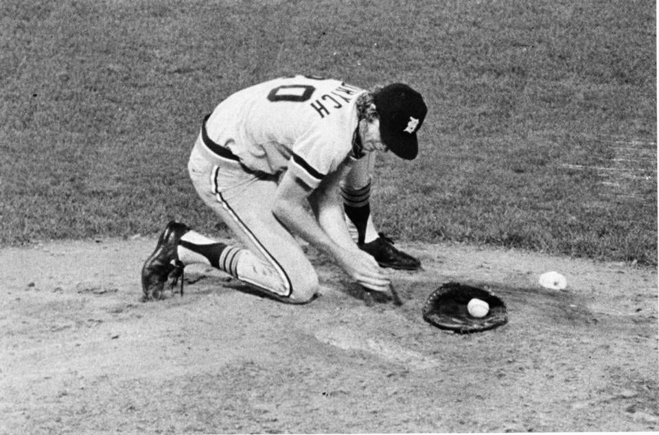 Mark Fidrych was known for his 93-mile-per-hour sinking fastball and his antics on the mound.