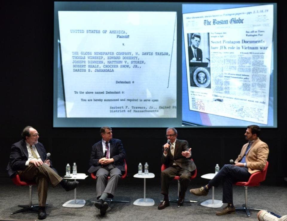 Panelists including former Washington Post Executive Editor Jonathan Kaufman, center left, and former Boston Globe editor Matt Storin, center right, along with BU professors Leonard Downie left, and Woody Hartzog, right, in front of a subpoena issued to Storin in an attempt to stop publication of the Pentagon Papers during a lecture tied to the release of the movie The Post, about the battle over the Pentagon Papers, held in the Northeastern University ISEC auditorium . Josh Reynolds for The Boston Globe (Names, thompson)
