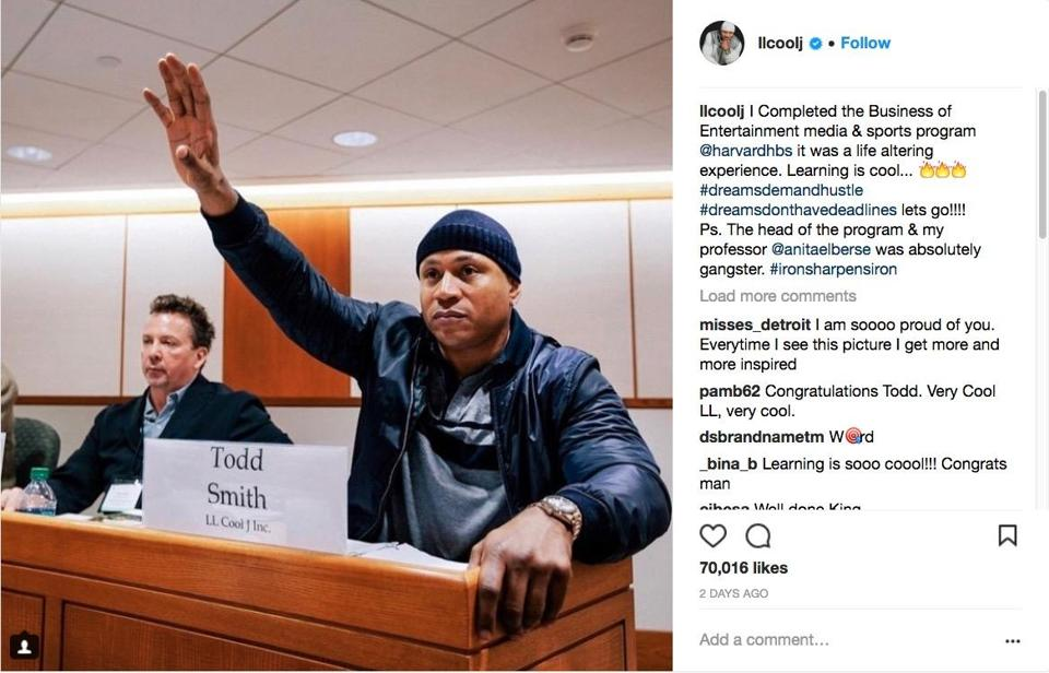 LL Cool J completed the business of entertainment, media & sports program at Harvard Business School.