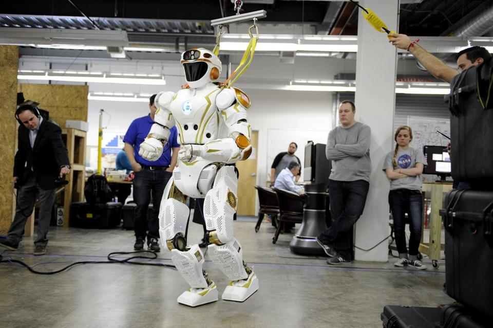 Northeastern researchers performed advanced research and development on Valkyrie, NASA's humanoid robot prototype, pictured here at UMass Lowell on April 6, 2016.