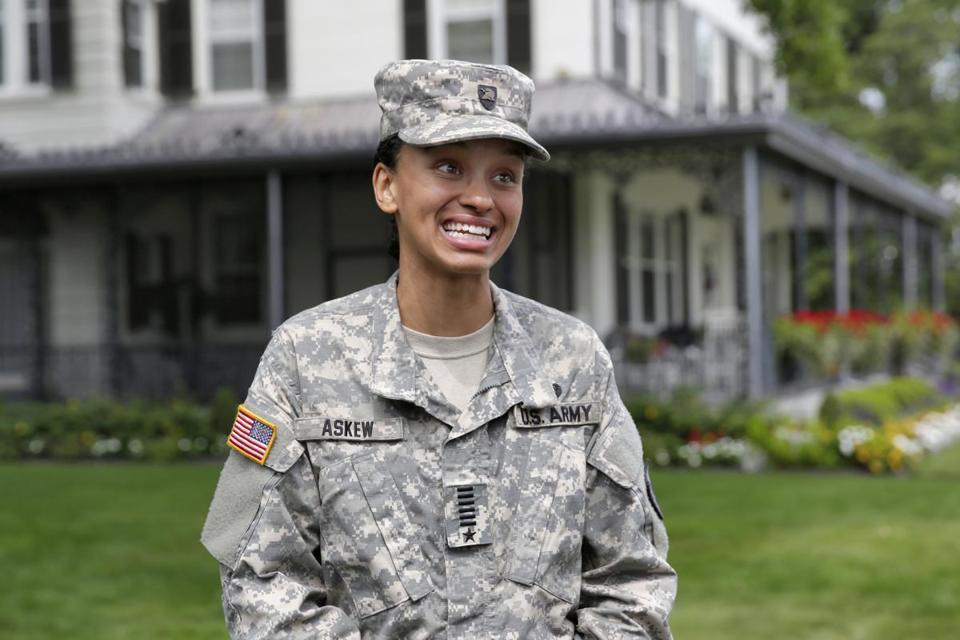Cadet Simone Askew, of Fairfax, Va., who has been selected first captain of the US Military Academy Corps of Cadets  at West Point for the upcoming academic year, was one of 32 Americans awarded Rhodes scholarships in 2018.