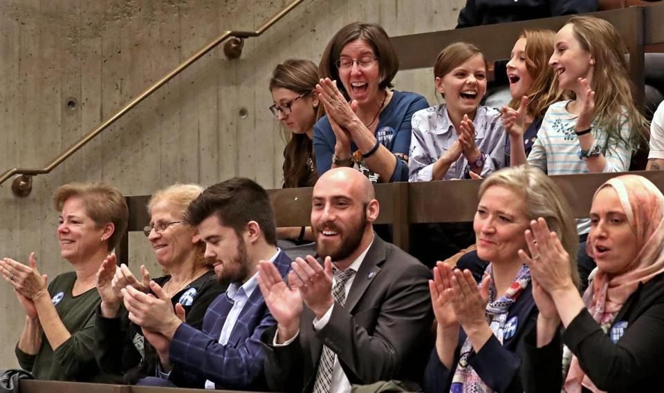 Audience members applauded after Boston City Council passed a ban on single-use plastic bags.