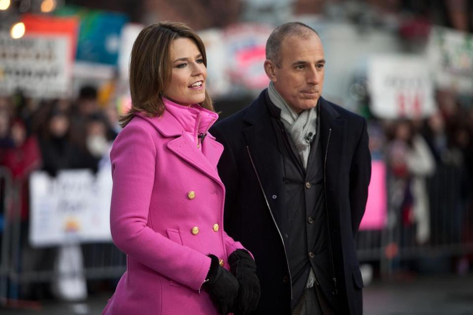 Matt Lauer (right) and Savannah Guthrie hosted a live taping of the Today Show in Boston in 2013.