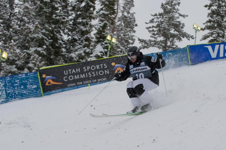 Troy Murphy competed at the 2017 World Cup moguls event at Deer Valley, Utah