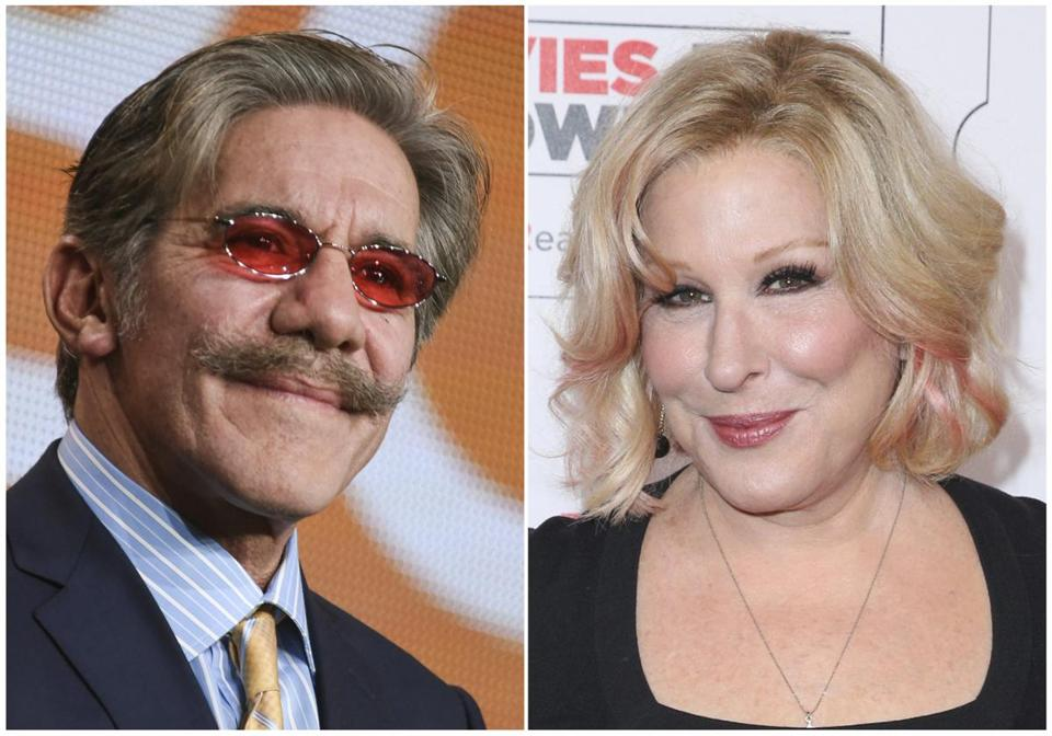 "This combination photo shows Geraldo Rivera at ""The Celebrity Apprentice"" panel at the NBC 2015 Winter TCA in Pasadena, Calif., on Jan. 16, 2015, left, and Bette Midler at the 15th Annual Movies for Grownups Awards in Beverly Hills, Calif., on Feb. 8, 2016. Midler is renewing an allegation of sexual misconduct against Geraldo Rivera, a day after Rivera called the news business ""flirty."" In a tweet posted Thursday by Midler and confirmed by her publicist, the actress-singer called on Rivera to apologize for an assault she said occurred four decades ago. (Photo by Richard Shotwell, left, and Rich Fury/Invision/AP, File)"