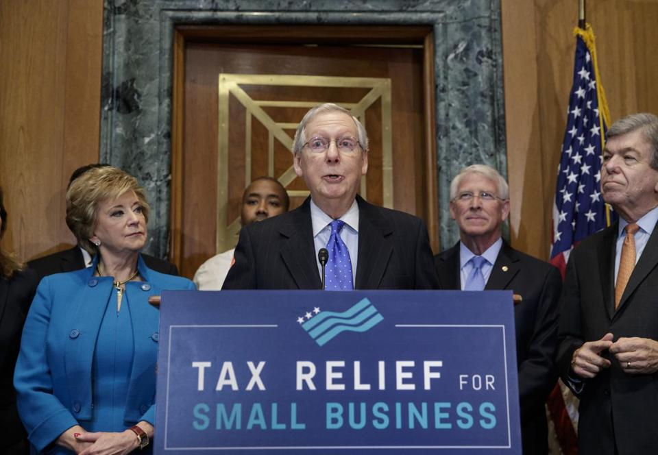Senate majority leader Mitch McConnell has been working with fellow Republicans to pass tax relief.
