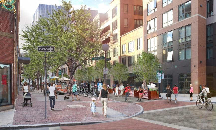 A rendering of what a more pedestrian-friendly Canal Street would look like.